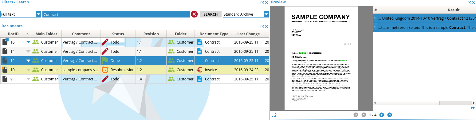 Screenshot ecoDMS Client Volltext Suche