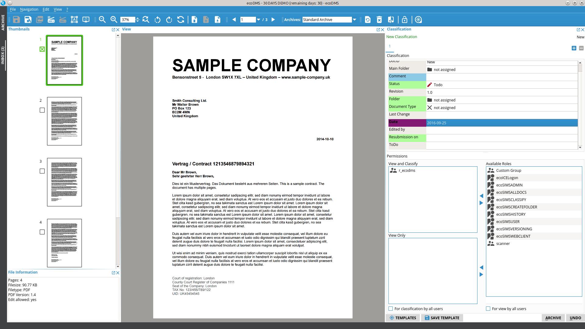 Screenshot ecoDMS Client Inbox